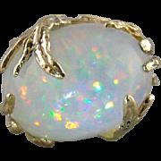 Vintage Ethiopian Opal Cocktail Ring, Mid Century Era Modernist Cocktail Ring, Bold Statement