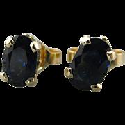 A Very Fine Midnight: Dark Blue Sapphire Stud Earrings