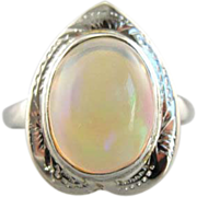Heart Shaped Opal and White Gold Ladies Ring with Antique Elements