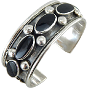 Vintage Onyx And Sterling Silver Native American Signed Cuff Bracelet