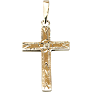 1940's Era Gold Cross with Floral Motif, Floral Cross