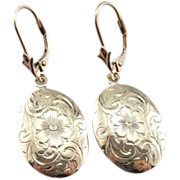Lovely Oval Drop Earrings with Sweet Floral Motif