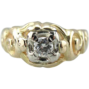 Antique Carved 14K Gold Ring with Diamond Center, Suitable for Man or Woman