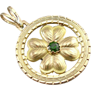Luck of The Irish, Vintage Four Leaf Clover Pendant with Demantoid Garnet Center