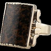 Antique 10K Gold Ring: Men's Victorian Leopard Jasper Statement Ring