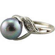 Dove Grey Cultured Pearl and Diamond Cocktail Ring