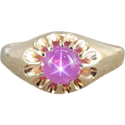 Pink Star Sapphire And Vintage 14K Gold Cocktail Or Mens Ring