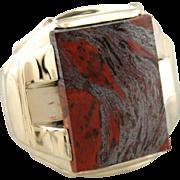 Mercury's Stone; Bold Men's Hematite and Jasper Statement Ring