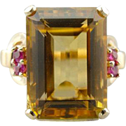 Honey Colored Citrine and Ruby Cocktail Ring