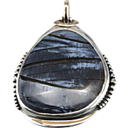 A Big Blue Tempest: Blue Pietersite Pendant in Sterling Silver and 10K Yellow Gold