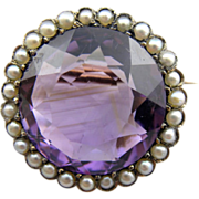 Antique Victorian Amethyst Glass and Seed Cultured Pearl Brooch in Sterling Silver