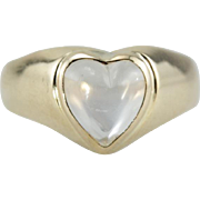 Moonstone Love, Vintage Heart Cut Moonstone Ring