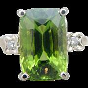 Peridot and Diamond Emerald Cut Cocktail Ring