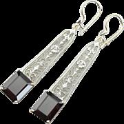 Sleek, Deep Red Garnet Gemstones and Long, Filigree 14K White Gold Earrings
