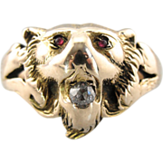 Vintage Lion Ring with Ruby Eyes and Old Mine Cut Diamond in Mouth