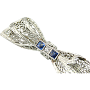Filigree Ribbon Bar Pin, Lovely Bow Shape, Something Blue
