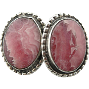 Perfectly Pink: Rhodocrosite and Sterling Silver Stud Earrings