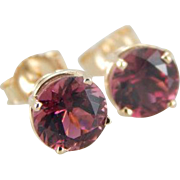 Raspberry Pink Tourmaline Stud Earrings