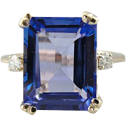 Lovely Periwinkle Blue Tanzanite Cocktail Ring with Diamond Details