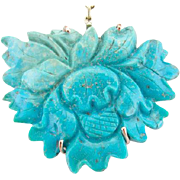 Sleeping Beauty Turquoise and Carved Coral Necklace, Exquisite Workmanship