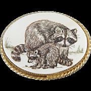 Raccoon Family Scrimshaw Brooch Circa 1975