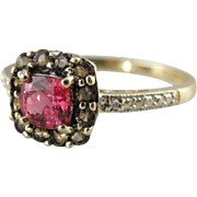 Fantastic Pink Spinel, Smokey Quartz and Diamond Cocktail Ring