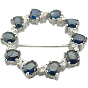 14K White Gold Circle Pin with Deep Blue Sapphires