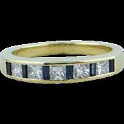 Fine Princess Cut Diamond and Sapphire Baguette Wedding Band, Excellent Quality