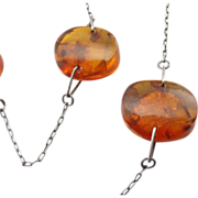 Mid Century Modern Amber Disc Necklace on Sterling Chain