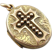 Antique Cross and Ornately Etched Victorian Locket in 14K Yellow Gold