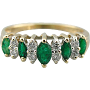 High Mounted Emerald and Diamond Band