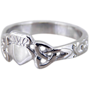 18K White Gold Celtic Knot Claddagh Ring, Vintage Irish Wedding, Unisex Band