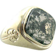 Moss Agate and Green gold, Vintage Ring for Man or Woman