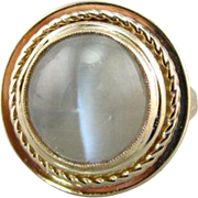 Watching You... Round Cat's Eye Sillimanite Cocktail Ring