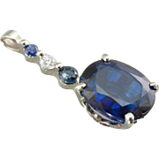 Kyanite Cocktail Pendant in 14K White Gold with Bright Diamonds