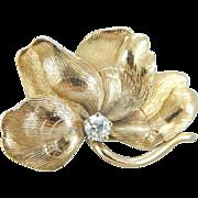 Lucky Four Leaf Clover Brooch with Diamond Detail