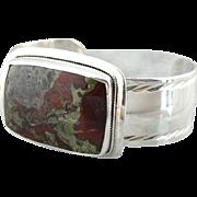 Bold Statement, Large Jasper Gemstone Cuff Bracelet in Sterling Silver
