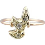 14K Green And 10K Rose Gold  Ring With Diamond Leaves