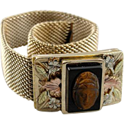 Victorian Era Tri Color 10K Gold Fill and Cameo Mesh Bracelet, Highly Collectible