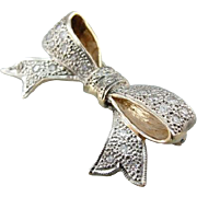 Sweet Vintage Diamond Studded Bow Brooch