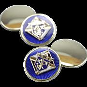 Knights of Columbus 14K Green Gold Enameled Cufflinks