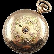 Art Nouveau Diamond Set Antique Pocket Watch With Hunters Case