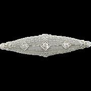 Stunning Art Deco White Gold Lace Filigree Pin with Diamond Center