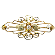 Art Nouveau Filigree Bar Pin with Center Diamond and Seed Pearl Accents