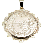 Mountain Landscape, One of a Kind Etched Pendant