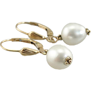 Classic Cultured White Pearl Earrings, Great Bridal or Anniversary Gift