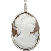 Detailed Pure White Cameo set in a Sterling Silver Pendant