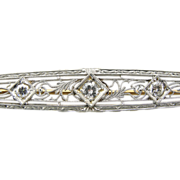 Stunning Art Deco 14K White Gold Lace Filigree Pin with Diamond Center