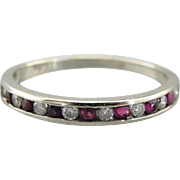 Ruby and Diamond Alternating Band, Wedding Ring, Art Deco  Stacking Ring