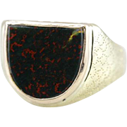 Fantastic Bloodstone Ring in Vintage 14K Green Gold Mounting